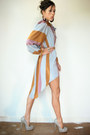 Bronze-viral-threads-dress-beige-steve-madden-heels-cream-vintage-cardigan
