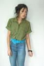 High-waist-vintage-jeans-turquoise-blue-suede-vintage-belt