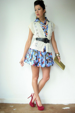 periwinkle buttefly print vintage from VIRAL THREADS dress - ivory crochet vinta