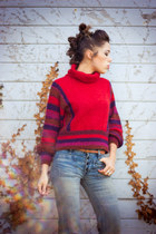 ruby red funnel neck Viral Threads Vintage sweater