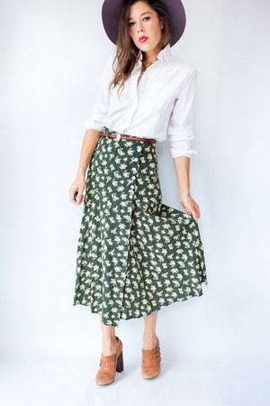 dark green vintage skirt - white dvf blouse - camel Topshop heels