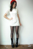 black buckles Ebay jacket - black vintage boots - ivory vintage dress