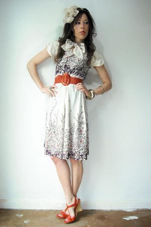 deep purple Viral Threads Vintage dress - burnt orange t strap franco sarto heel