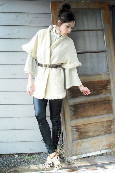 NyLa heels - cream loop trim cape vintage sweater - black corset sides leggings