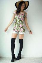 Viral Threads Vintage romper - black polka dot Forever 21 heels