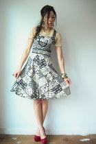 black vintage Young Edwardian dress - crimson peep toe suede sam edelman heels -