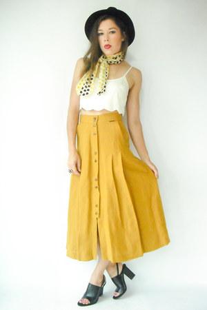 mustard vintage skirt - vintage scarf - black Alexander Wang heels