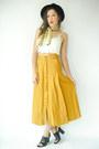Vintage-scarf-black-alexander-wang-heels-mustard-vintage-skirt