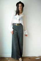 silver vintage pants - white vintage blouse - brown NyLa shoes