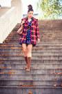 Brown-dr-martens-boots-navy-calico-vintage-dress-red-plaid-vintage-coat