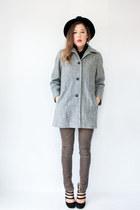 heather gray herringbone vintage coat - black turtleneck American Apparel shirt
