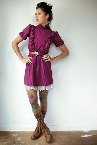8ee036a2d1f7a purple vintage dress - pink vintage intimate - Anthropologie tights - brown  Dr M