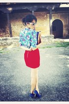 aquamarine vintage VIRVIN top - red H&M skirt - white Ray Ban glasses