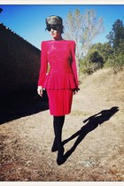 red VIRVIN dress - black VIRVIN hat - black Christian Louboutin heels