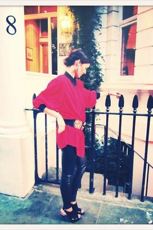 black Top leggings - red vintage VIRVIN shirt - black vintage VIRVIN belt