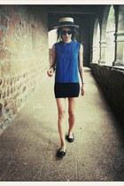 blue VIRVIN top - beige H&M hat - black H&M skirt