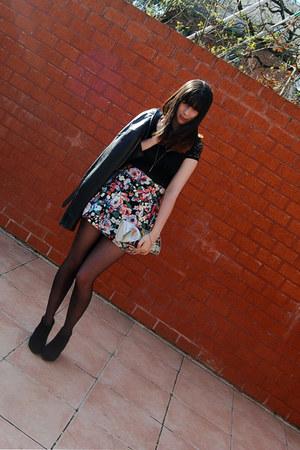 floral skirt H&amp;M skirt - leather Lipsy jacket - dim touch DIM tights