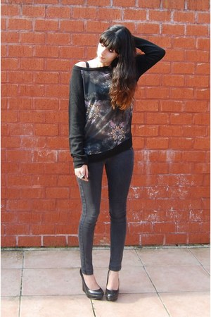 black jumper - black skinny jeans asos pants - black wedges