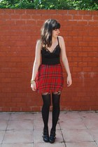 black asos tights - red satin bodice Motel Rocks dress
