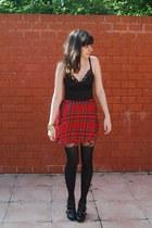 black asos tights - red satin bodice Motel Rocks dress
