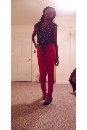 white polka dots blouse - red red pants American Rag pants - black Payless heels