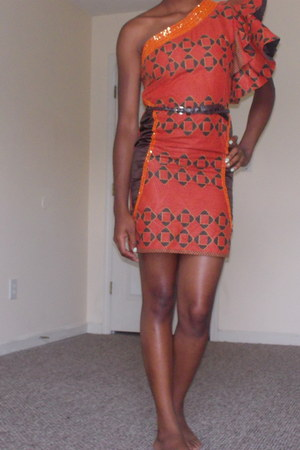 Hand-made African Dress dress - brown leather belt