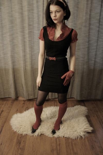 red socks - black Zara dress - red accessories - black tights - red Mango blouse