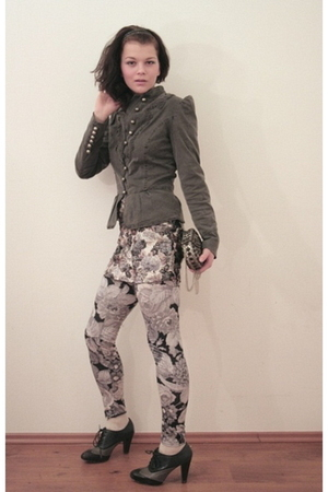 gray leggings - blue Promod shoes - gray Miss Selfridges jacket - silver Zara pu