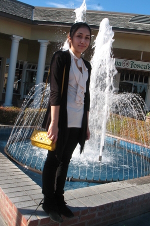 black Forever 21 pants - Target top - Forever 21 purse - TJ Maxx cardigan
