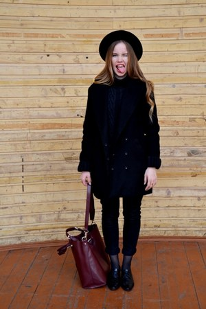 Bershka coat - Miss Sixty jeans - Topshop hat - Accessorize bag
