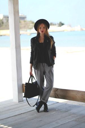 Topshop hat - next shoes - Bershka coat - Zara bag - Zara pants