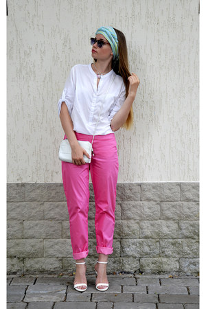 white Incity blouse - desert bag - Ebay sunglasses - white Zara heels