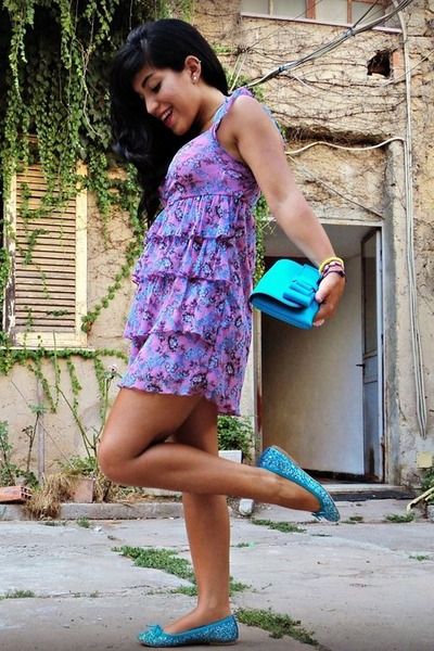 Oviesse dress - La fille des Fleurs bag - no brand flats