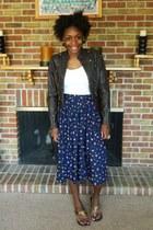 dark brown jacket - white t-shirt - blue skirt