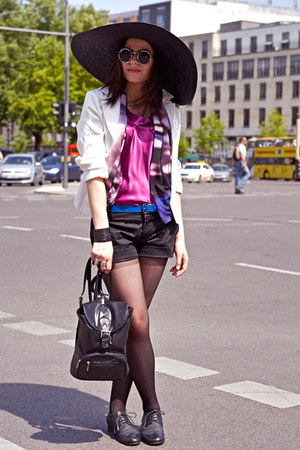 black Zara hat - white vintage blazer - amethyst weekday scarf