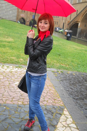 red earrings - navy jeans - black jacket - red top - red sneakers
