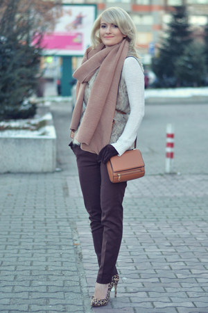 Zara vest - Zara sweater - H&M bag - new look heels - Zara pants