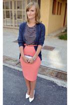 H&M bag - Bershka blouse - poema skirt - depurtatro heels - H&M cardigan
