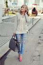 Bershka-jeans-h-m-jacket-vero-moda-sweater-h-m-bag-poema-heels
