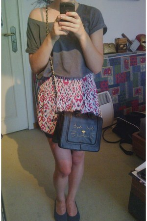 black cat bag SugarStyle bag - multicoloured Zara shorts - navy Clemente flats