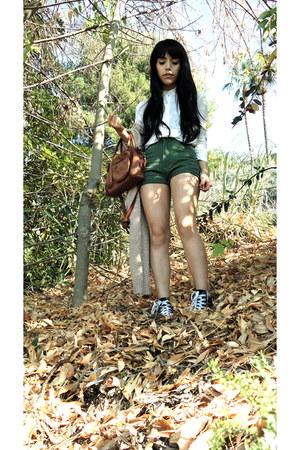 denim French Toast shorts - leather vintage bag - silk DKNY blouse