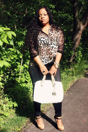 chiffon-lace Charlotte Russe blouse - Michael Kors bag