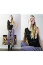 sequined black thrifted vintage vest - purple silk Gina bacconi pants