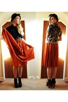 burnt orange midi asoscom skirt - black heels Jeffrey Campbell shoes