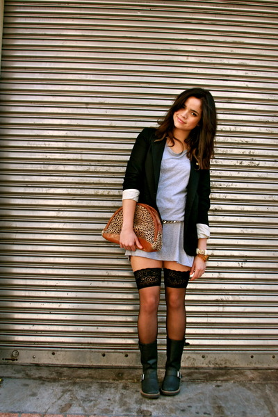 black Target blazer - gold vintage belt - black stockings - Cathy Jean boots - n