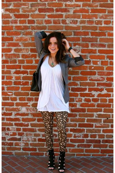 vinage blazer - Pink Zone blouse - Miley Cyrus leggings - calvin klein shoes - C