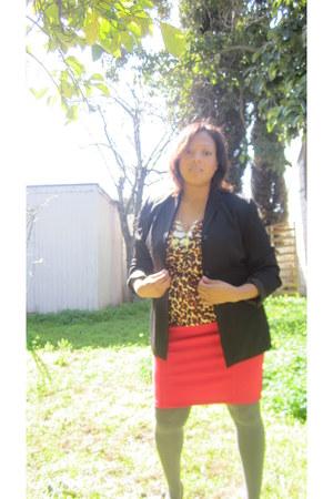 black Nordstrom Rack blazer - Target blouse - hot pink Target skirt