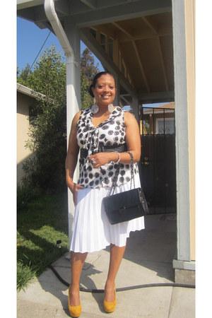 kirna zabete for target bag - white pleated thrifted skirt
