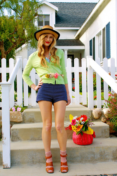 JCrew cardigan - vintage shorts - vintage hat - H&M blouse - JCrew belt - Michea