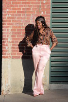 light pink vintage pants - Silk scarf - ruby red vintage blouse